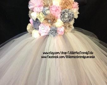 Vintage Flower Girl Tutu Dress, Ivory Flower Girl Tutu Dress, Flower Girl Tutu Dress, Tutu Dress with Flowers, Flower Girl  Dress