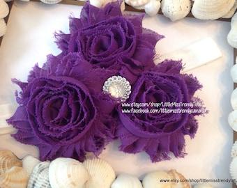Purple Shabby Chic Flower Headband, Purple 3 Flower Headband, Dark Purple toddler headband, Purple newborn headband, Child's Headband Purple