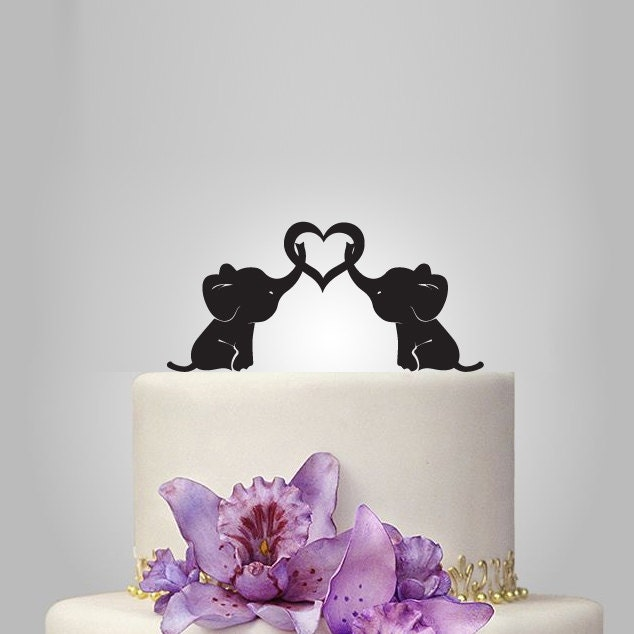 Baby Elephant Wedding Cake Topper With Heart By Walldecal76
