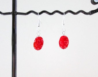 CLEARANCE Red glass earrings, handmade in the UK