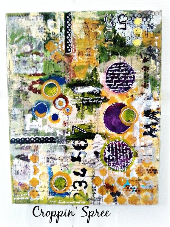"""Handmade Mixed Media Canvas Art. 12"""" x 12"""" Ready to Ship. Numbers, Circles & Words. Purpose Art. Deep Plum, Yellow, Greens and Blues"""