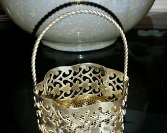 Miniature Twisted Handle Filigree Silver-plate Hollow-ware Basket