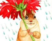 Happy Chipmunk in the Rain - from Original Watercolor As Greeting Card or a Print