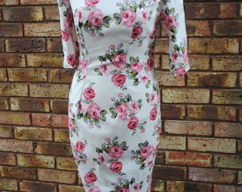 1950s style Handmade 'Marilyn' Wiggle Dress Size 10