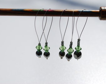 Stitch Markers - Green and Black **SALE ITEM**