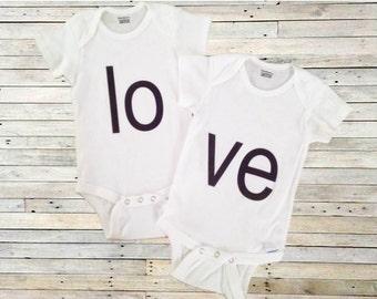 Twin L-O-V-E - Bodysuit Set for Twins