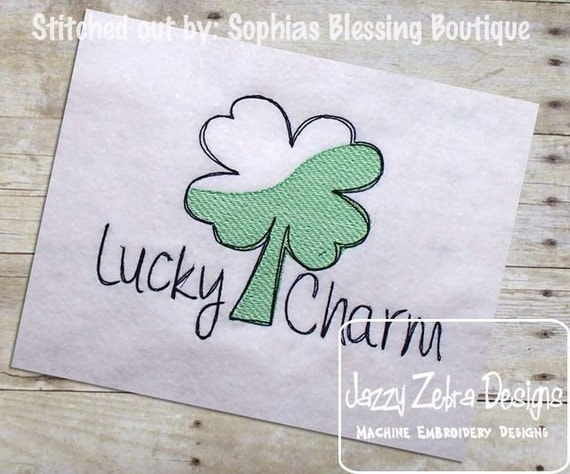 Lucky Charm Sketch Embroidery Design - Saint Patricks Day Sketch embroidery design - shamrock sketch embroidery design