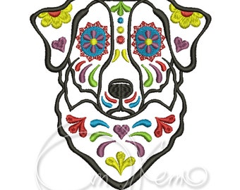 MACHINE EMBROIDERY DESIGN - Calavera Aussie dog, Dia de los muertos, calavera dog, day of the dead, australian shepherd