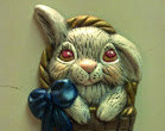 Easter Bunny in a Basket Magnet