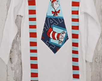 Dr. Seuss/Baby Boy Tie Suspender Onesie Bodysuit  /Daycare Outfit/Dr. Suess Birthday/Trendy/Photo Prop/Little Man/Shower Gift