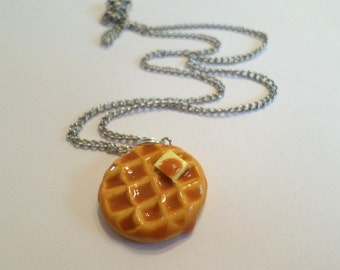 Round Waffle Necklace, Polymer Clay Food Jewelry