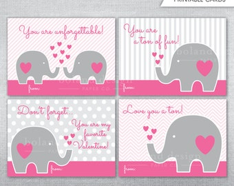 INSTANT DOWNLOAD Valentineu0027s Day Cards. Printable Elephant Valentine Cards.