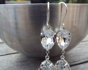 Swarovski Elements Crystal Clear estate style earrings