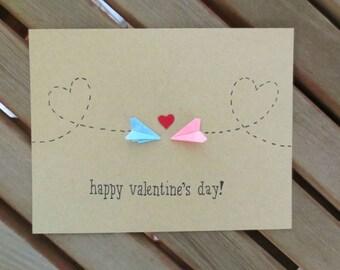 long distance valentine, valentine card, valentines day card, cute valentine, paper airplane valentine, plane valentine, handmade valentine