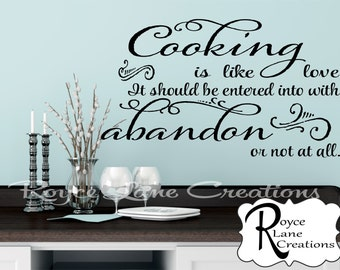 Kitchen Wall Decal- Cooking is Like Love Kitchen Quote Decal Kitchen Quote Wall Decals -Kitchen Decor Kitchen Wall Decor Kitchen Wall Art