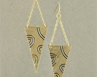 SALE! Hand Crafted, Gold Tone, Triangle Shaped, Dangle Earrings with Squiggle Design
