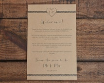 Destination Wedding Welcome Note ~ Heart & Rattan Border ~ PDF