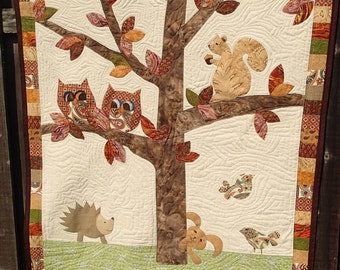 Woodland critters baby quilt wall hanging