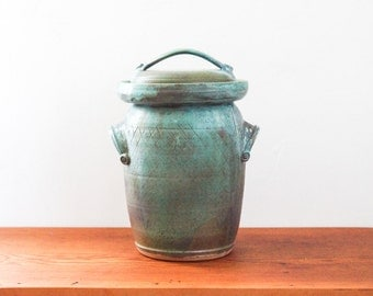 Made to Order ** Two gallon large ceramic fermentation crock in Mineral Green with Robin's Egg. Pickling, sauerkraut, wheel thrown pottery.