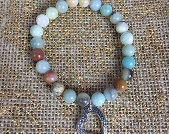 Genuine Amazonite Bracelet with Silver Hammerred Heart Charm