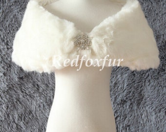 Fashion High quality Fake fur shawl Ivory Bolero Bride Fake fur stole Bridesmaid Thicken Short shawl Brooch Shrug Cloak Winter Wrap Warm
