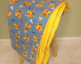 Baby or Crib Blanket, Winnie the Pooh (Adult or Child) - Flannel & Cotton Fabric - Perfect Gift/TV Blanket! Pooh Bear, Tigger, Piglet