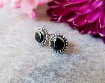 Small Black Onyx Stud Earrings, Sterling Silver Stud Earrings, Black Stone Stud Earrings, Gemstone Stud Earrings, Dainty Everyday Earrings