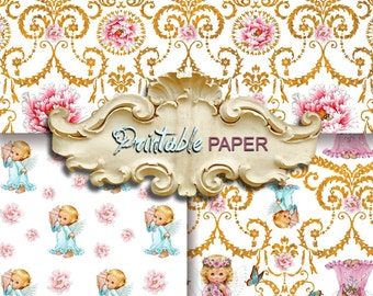 BABY ANGELs - 3 SHEETs Printable wrapping paper for Scrapbooking, Creat - Download and Print