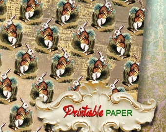 ALICE RABBIT - Printable wrapping paper for Scrapbooking, Creat - Download and Print