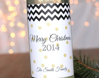Set of FOUR Holiday Wine Labels Gold Dots Black Chevron Personalized Christmas Wine Label Sticker Modern Christmas Party Neighbor Gift Idea