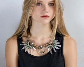 NENUPHAR quartz crystals in an oversized chocker necklace. Olive green and mustard.