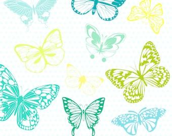 """Colorful Butterflies Clip Art""""BUTTERFLY CLIPART"""" Digital ClipArt.Scrapbook Butterflies.Blue Butterflies.Baby Boy Shower.EPS Vector File."""