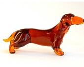 Glass Dachshund Figurine Glass Dog Figurine Glass Figurine Dachshund Figure Animal Sculpture Animals Figurines
