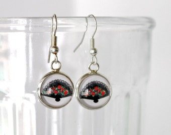 Flamenco Fan earrings. Whimsical spanish fan drop earrings. Cute fan art glass dangle earrings. Spanish jewelry. Flamenco fan lover gift.