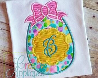 Easter Egg Monogram Bow Applique Machine Embroidery  Design 4 Sizes