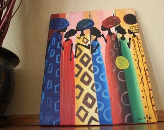 "African Canvas Painting: Elegant African Women with Multicolor Background (7"" x 9.25"")"