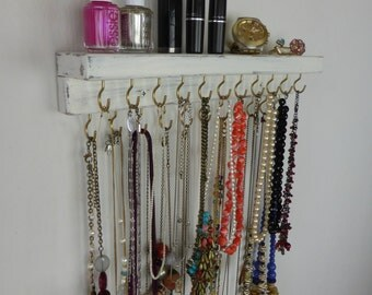 Shabby chic necklace organizer with silver/golden hooks - jewelry storage- ivory white wall hanging distressed wood - many colors available!