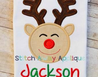 Christmas Reindeer Boy Machine Applique Design