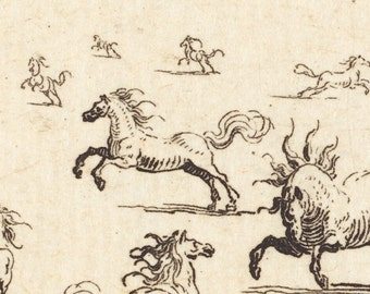 Horses Running, 17th Century French Master Drawing Print