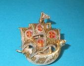 Vintage Spanish Galleon Brooch, Pirate Ship, Dragon Head Boat, Signed Spain, Toledoware Damascene Style