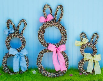 Easter Wreath, Bunny Wreath, Spring Wreath - Easter Door Hanger - Easter Door Wreath - Easter Door Decoration - Easter Bunny Wreath