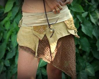 Pixie Pocket Skirt (Masala) - Festival Fairy, Goa Skirt, Wrap Skirt, Skirt with Pocket, Gypsy Skirt, Hippie Skirt, Festival Skirt
