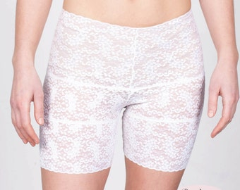 Lace Biker Shorts/Retro Undies in White Stretch Lace - size large
