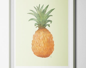 Digital Print Illustration Printable - Pastel Watercolor Pineapple - Home decor Gift Original Fruit Kitchen