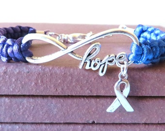 Rheumatoid Arthritis HOPE Awareness Ribbon Charm Bracelet With Optional Hand Stamped Alphabet Letter Charm