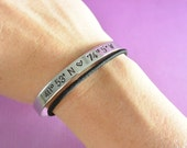 "GPS Coordinates with Heart Hand Stamped Bracelet Aluminum Cuff Personalized Gift Skinny Bangle Place Longitude Latitude Location - 1/4"" Wide"
