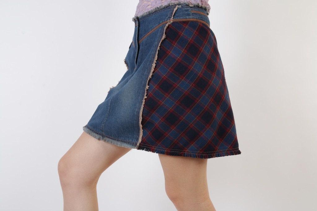denim plaid skirt blue burgundy checkered mini a line skirt