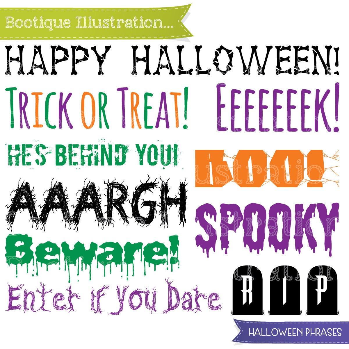 Halloween Phrases Clipart, Halloween Clip Art. Boo! Trick Or Treat! Happy  Halloween Clipart. Spooky Vectors. Halloween Digital. Beware!