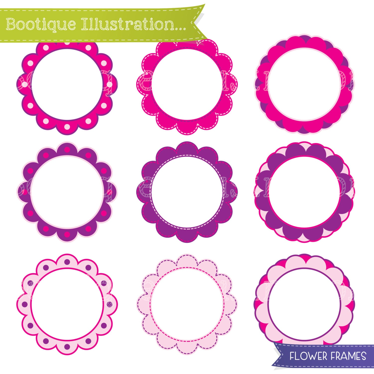 Flowers Clipart Set. Pink and Purple Digital Flowers Vector Clip Art ...