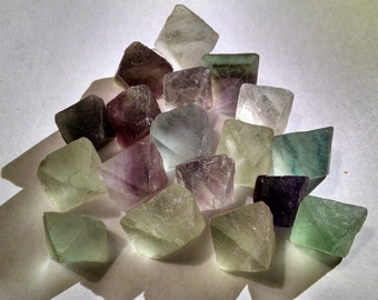 Fluorite Octahedron 3/8 inch Crystals - at 1.25 a Piece - Green - Purple - Clear.